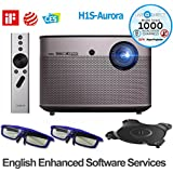 Native 1080p Projector, H1S-Aurora 1080p HD Android Smart Projector 3D Home Theater Projector TV Harman/Kardon Customized Stereo, Chinese Version with LiveTV.Direct English Enhanced Software Services