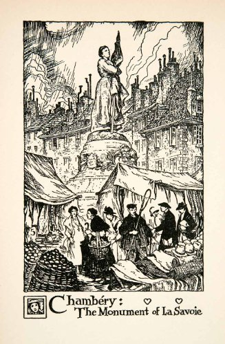 1927 Lithograph Monument La Savorie Chambery France Statue Woman Thornton Oakley - Original In-Text - Oakleys Female