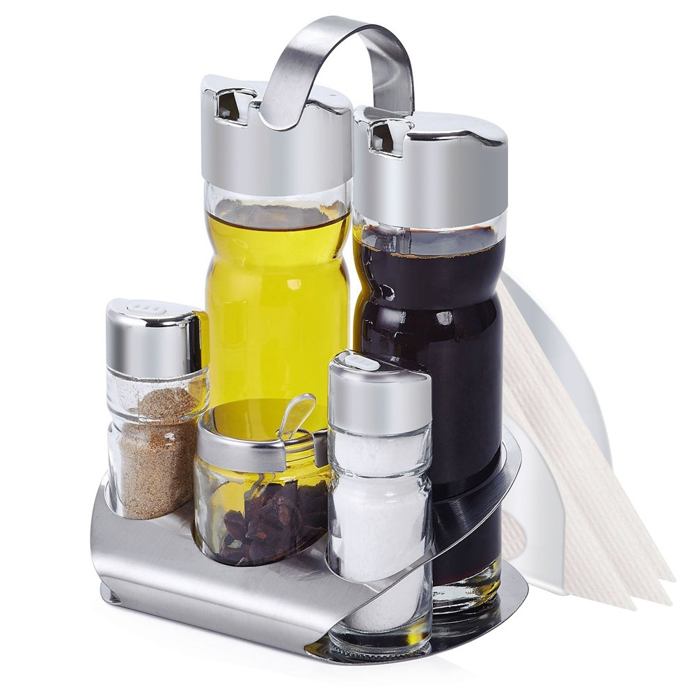 LuckIn Salt and Pepper Cruet Set, 5pcs Condiment Bottles Spices Shaker with Stainless Steel Caddy Stand and Paper Bracket Holder - Salt and Oil Server Set