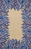 Liora Manne Spello Coral Border Rug,Indoor/Outdoor,  5-Feet by 7-Feet 6-Inch, Cobalt