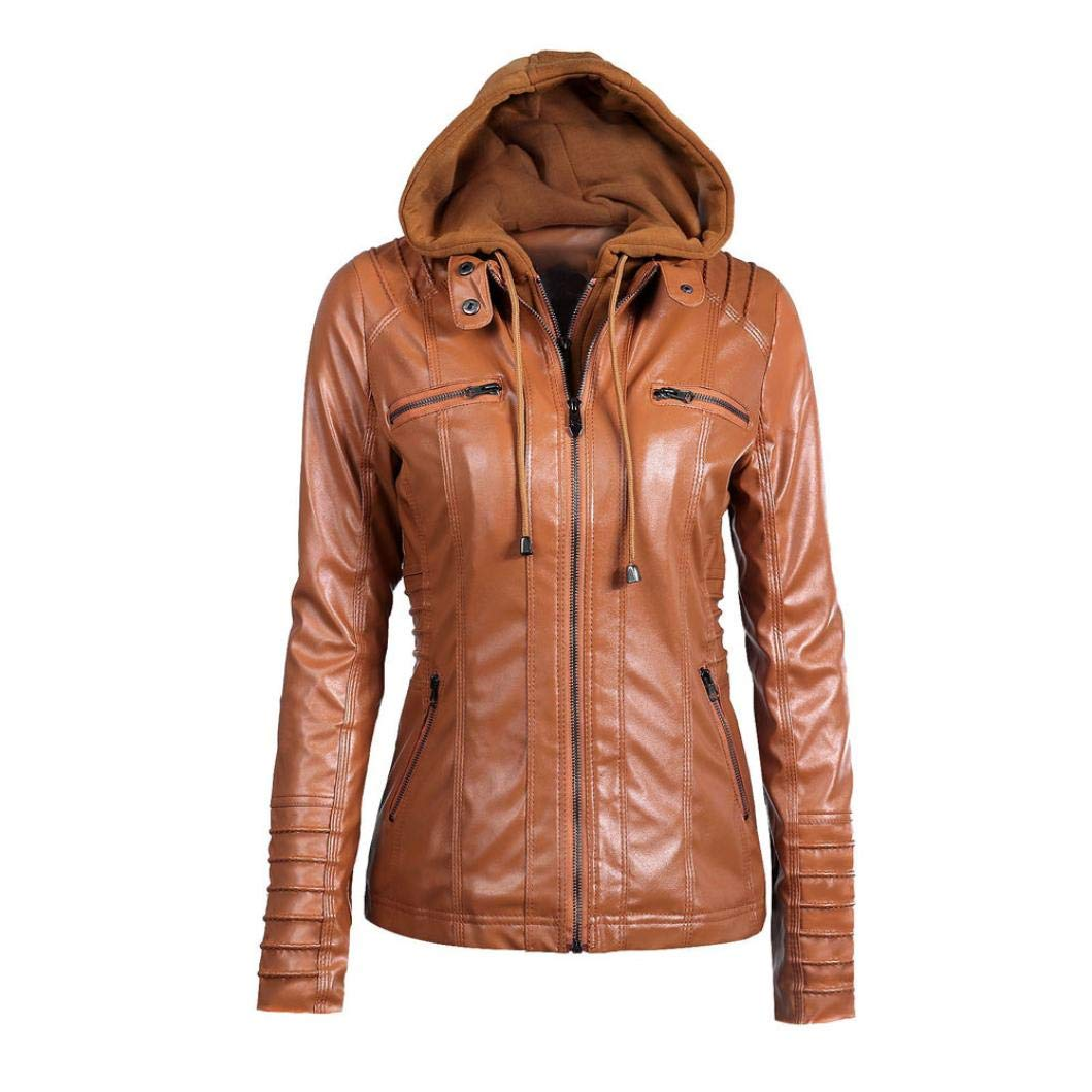 Rambling Womens Hooded Leather Jacket, Slim Overcoat Coat Lapel Removable Zipper Outwear Tops