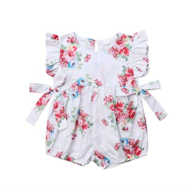 super cute hot sale online exceptional range of styles and colors Amazon.com: Toddler Girl Romper Floral Sleeveless Ruffle ...