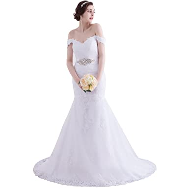 Beauty Bridal V Neck Off Shoulder Mermaid Wedding Dresses For Bride Lace Applique Gowns At Amazon Womens Clothing Store
