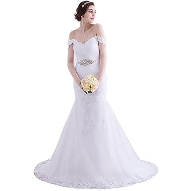 beauty bridal elegant off shoulder crystal lace bridal gowns white wedding dresses 20162