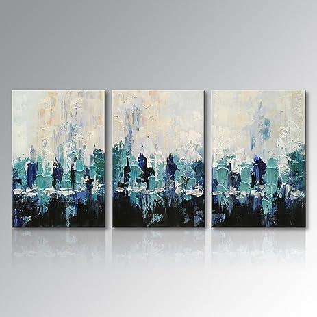 Amazon.com: Everfun Art Hand Painted Canvas Wall Art Blue Scenery ...