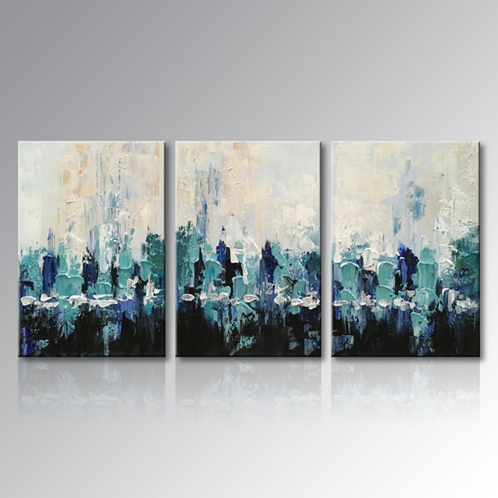 Everfun Art Hand Painted Canvas Wall Art Blue Scenery Abstract Figure Oil Painting Home Decor for Living Room Bedroom Dining Room Stretched and Framed Ready to Hang (60''W x 30''H (20''x 30'' x 3 pcs))