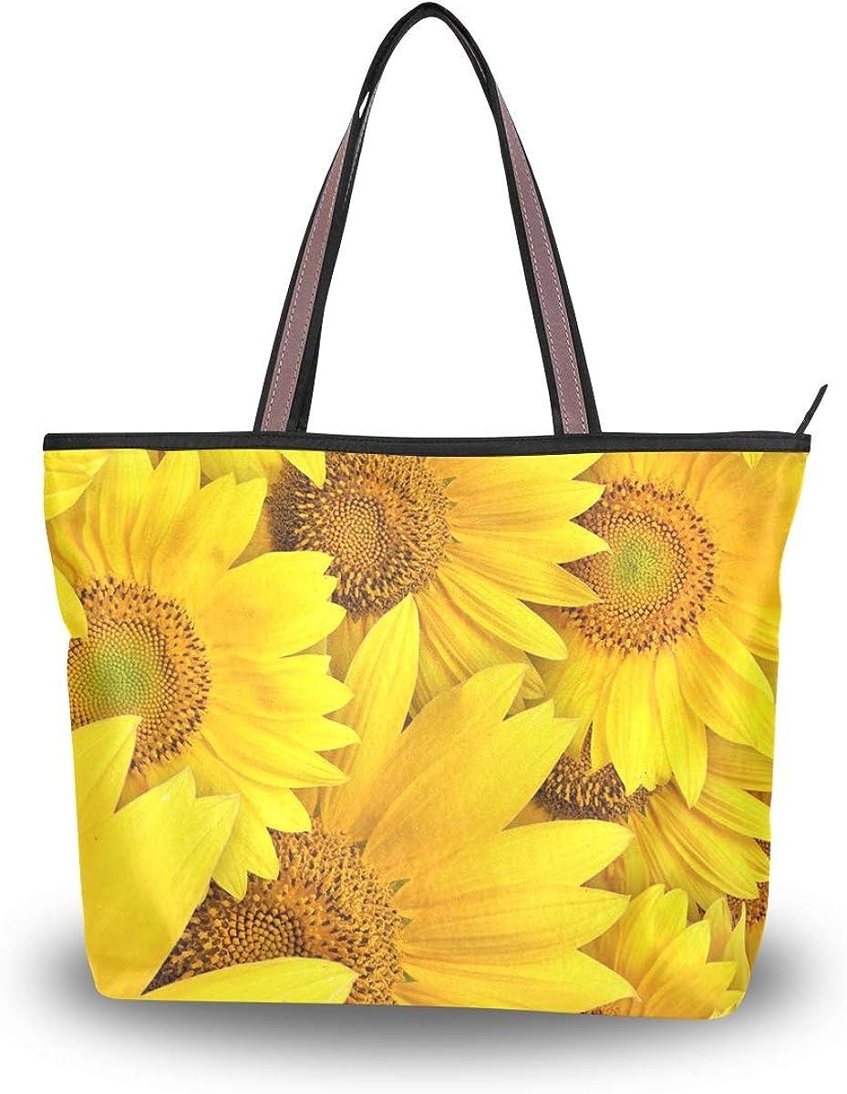 Large Tote Bag Sunflower Shoulder Bag for Gym Hiking Picnic Travel Beach Bag