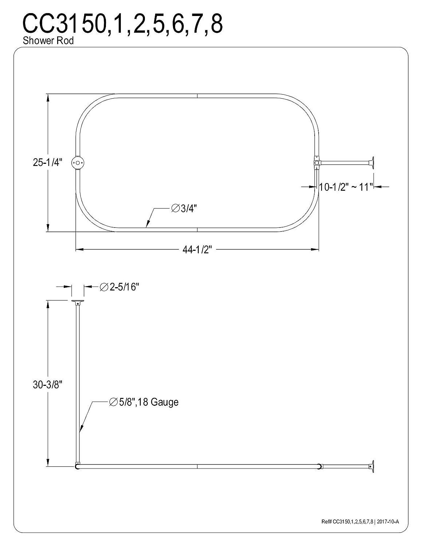 Kingston Brass CC3151 Rectangular Shower Rod for Clawfoot Tub Polished Chrome