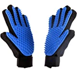AUBBC Pet Grooming Glove 2 PCS, Upgraded 259 Soft Pet Hair Remover Gentle Deshedding Brush Glove ,Deshedding Tool for…