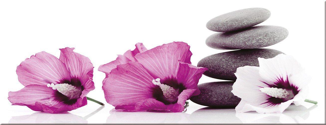 Artissimo, Glasbild, 80x30cm, AG1921A, Pink & Weiß Zen, Blume, Bild aus Glas, Moderne Wanddekoration aus Glas, Wandbild Wohnzimmer modern