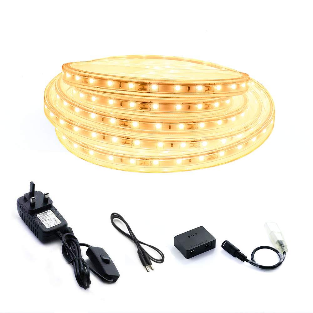 【Brightness Adjustable】 Motion Sensor LED Strips with Power Supply, Super Bright 3000K Rope Lights with Motion Sensor, Flexible LED Tape for Home, Room, Kitchen, Pathway Lighting (3M) Lehour