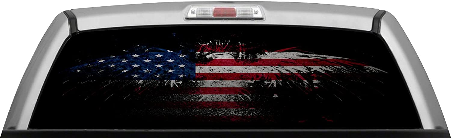 Amazoncom AMERICAN FLAG DARK PRIDE GLASSVIEW By ITIGD Truck - Back window decals for trucks