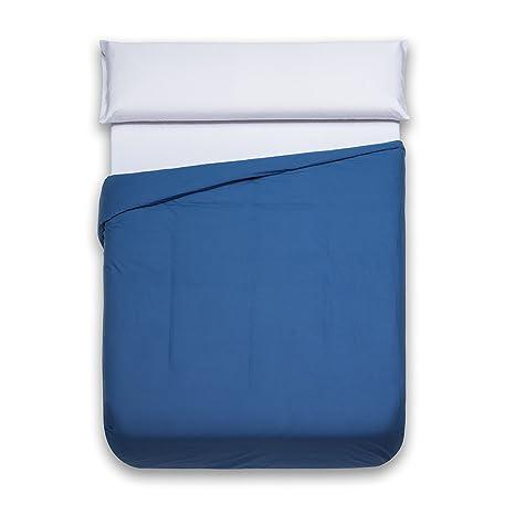 Sancarlos - Funda nórdica lisa, 100% Algodón, Color azul marino, Cama de