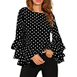 LILICAT Women Blouse, Ladies Dot Tops Fashion Women's Bell Sleeve Flare Long Sleeve Loose Polka Dot Shirt Ladies Casual Blouse Tops Round Collar Tops Frill Sleeve Tops