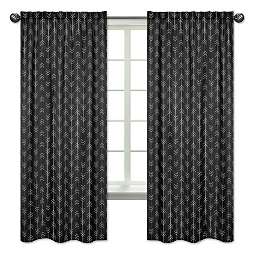 Sweet Jojo Designs Black and White Woodland Arrow Window Treatment Panels Curtains for Rustic Patch Collection - Set of 2