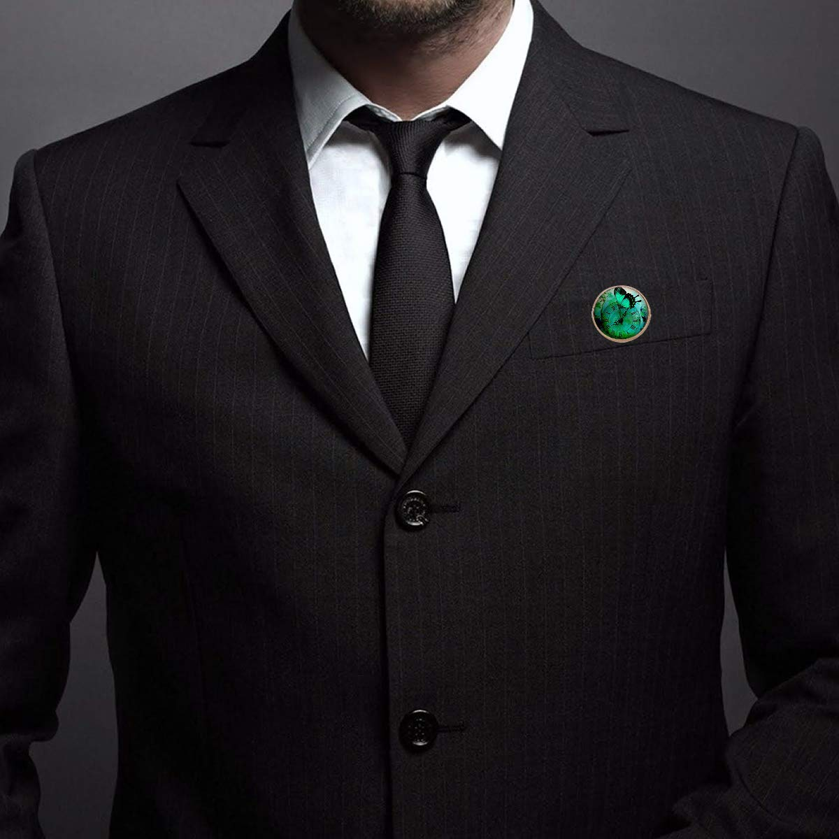Pinback Buttons Badges Pins Green Butterfly Steampunk Clock Lapel Pin Brooch Clip Trendy Accessory Jacket T-Shirt Bag Hat Shoe