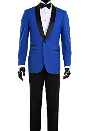 Modern Luxury Prom Suits 48 Regular Royal Blue With Black Shawl