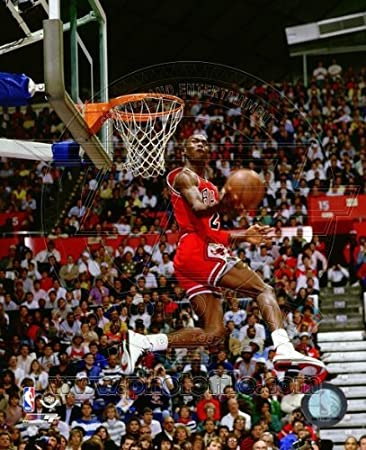 Amazon Michael Jordan 1987 Slam Dunk Contest Action Glossy Photograph Photo Print Home Kitchen