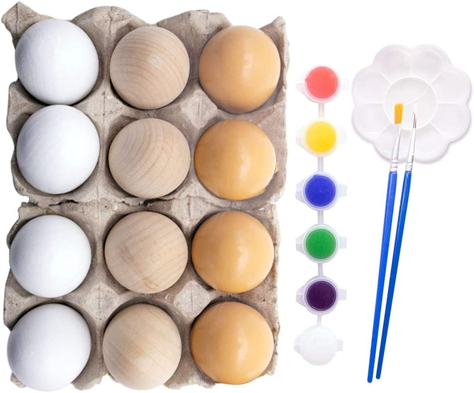 Amor Easter Eggs Wooden Fake Eggs with Painting Tools Set 12Pcs 3 Colors Children Play Kitchen Game Food Toy