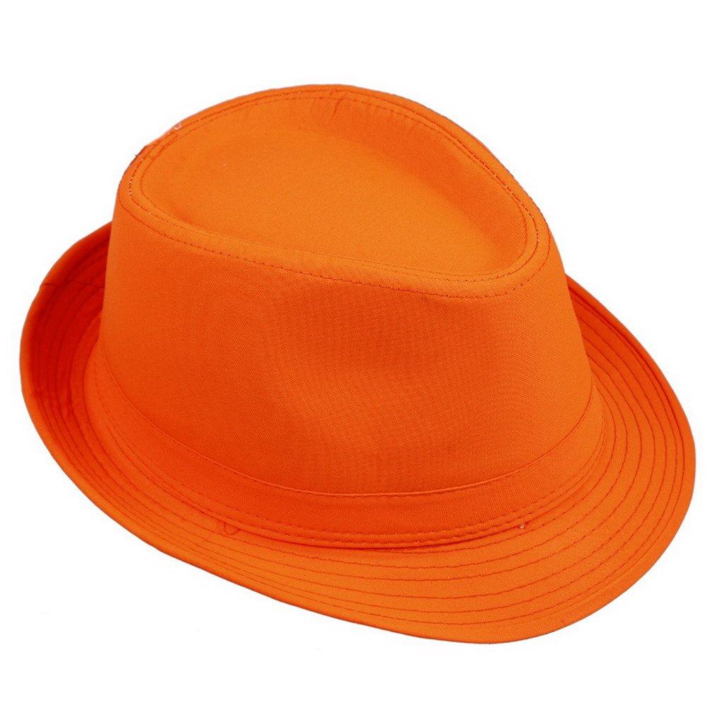 Orien Unisex Men Women Fedora Trilby Hat Solid Color Sun Jazz Cap