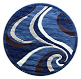 Americana Modern Area Rug Design 144 Blue (4 Feet X 4 Feet) Round Review