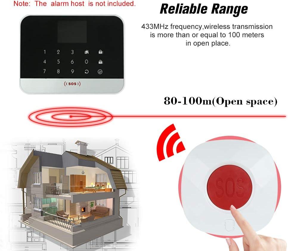 OWSOO 433MHz Bot/ón SOS Inal/ámbrica de Llamada Bot/ón de Emergencia para Sistema de Alarma Segura de Hogar
