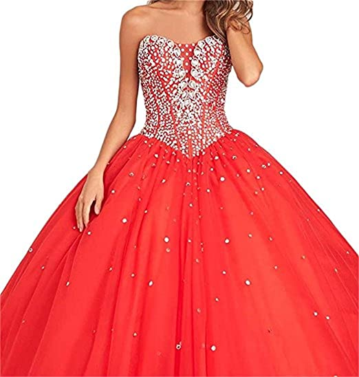 XUYUDITA Womens Sweetheart Beads Ball Gown Quinceanera Dress Prom Dresses Long Red-UK6