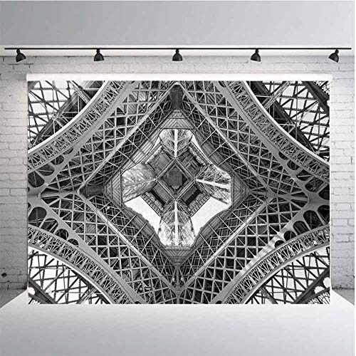 Black and White Photography Background Cloth Eiffel Tower View from Below Paris City French Monument Image for Photography,Video and Televison 9ftx6ft Grey Black and White