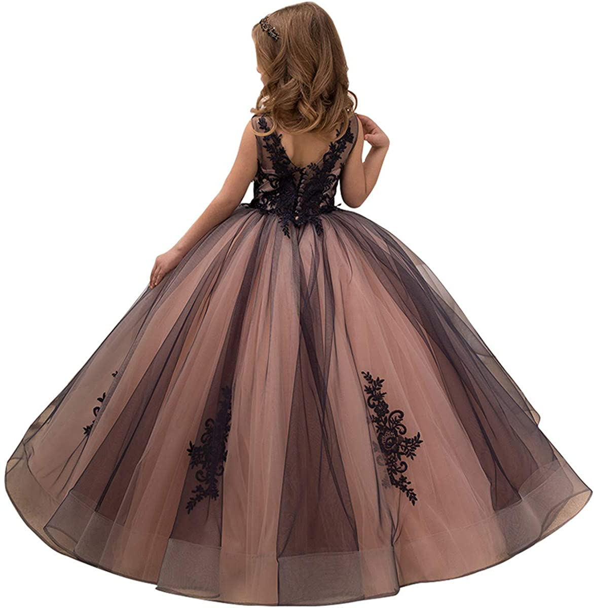 Pink Custom Flower Girl Dress Applique Crystal Pageant Sleeveless Party BallGown