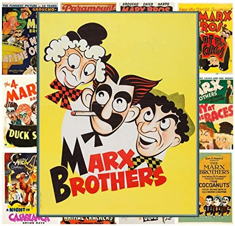 Vintage Film Movie Poster c.1930s 13in x 19in Pacifica Island Art The 4 Marx Brothers in Duck Soup Master Art Print