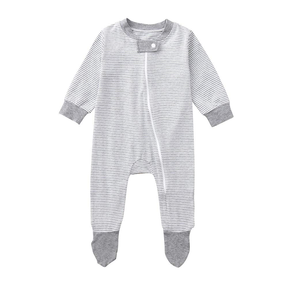 Robemon Vêtement Automne Bébé Filles Garçons Manches Longues Zipper Rayure Fermeture Éclair Combinaison Barboteuse 6-24Mois