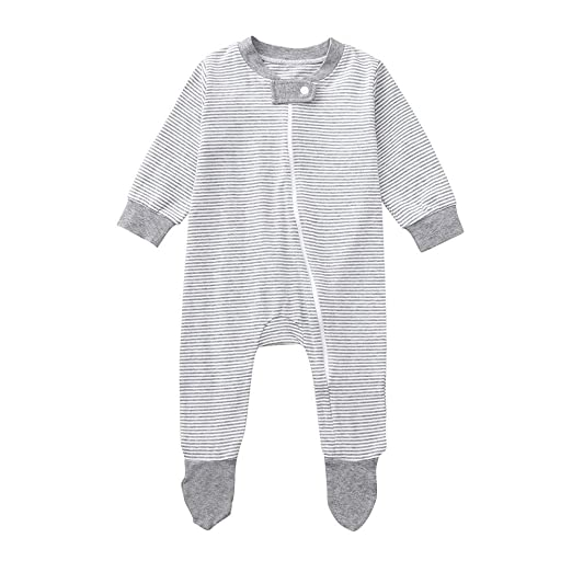 a2695e51a Amazon.com: SUJING Newborn Baby Jumpsuit Boys Girls Long Sleeve Gray White Striped  Romper Onesie Outfit Clothes: Clothing