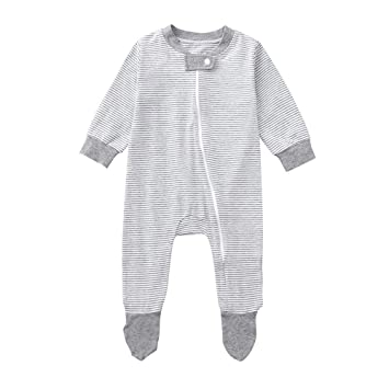 c30a3ec8205f Baby Rompers -Newborn Girls Boys Long Sleeve Zipper Stripe Romper Jumpsuit  for Snap Sleep Play