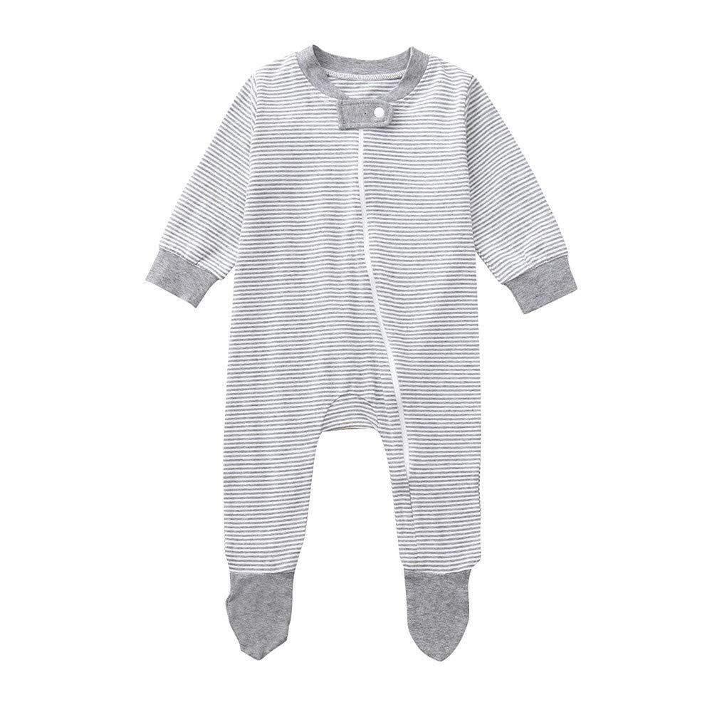 H.eternal Baby Girls' Sleeper Pajamas Zip Front Non-Slip Footed Sleeper PJs, 100% Organic Cotton,Stripe Romper Jumpsuit Clothes