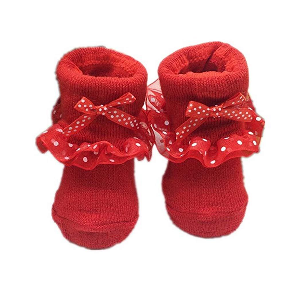 wicemoon calentadores de Navidad algod/ón reci/én nacido beb/é infantil suave antideslizante encaje calcetines para 0/ /12/meses talla /única rosa rosa Talla:talla /única