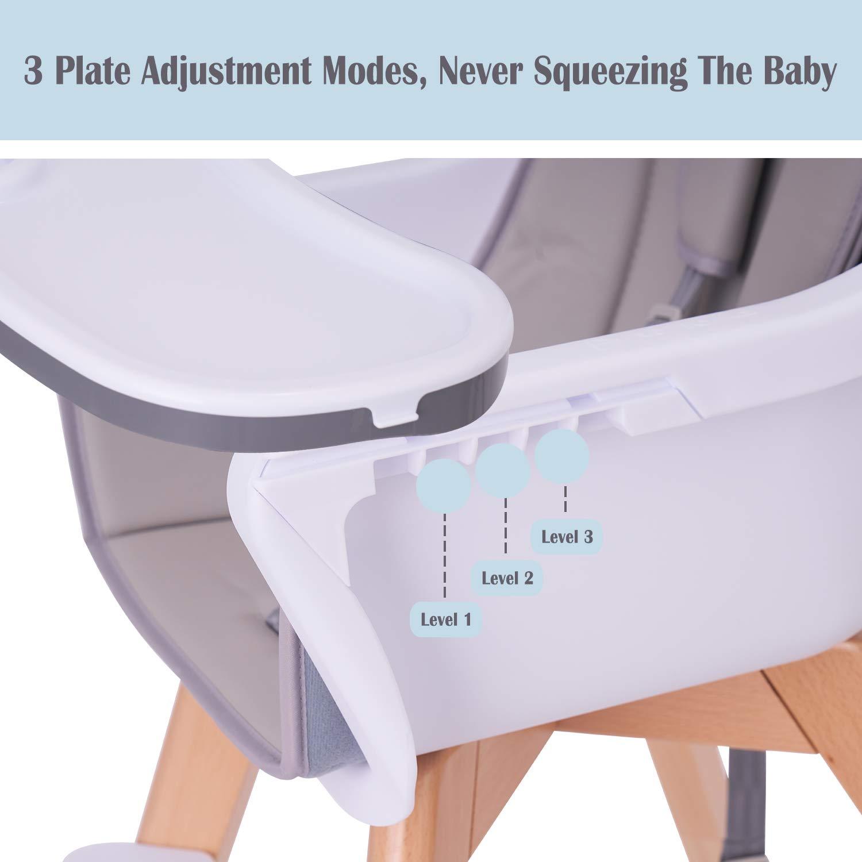 Amazon.com: Silla alta para bebé, silla alta de madera con ...