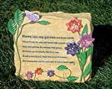 Decorative Garden Rock - Colorful Metal Flowers and Butterflies with Engraved Saying