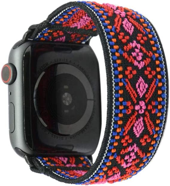 Tefeca Red Embroidery Ethnic Pattern Elastic Compatible/Replacement Band for Apple Watch 38mm/40mm (Black Adapter, XS fits Wrist Size : 5.5-6.0 inch)