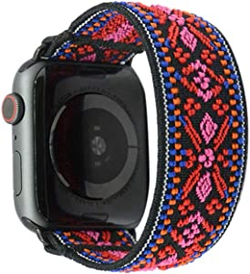 Tefeca Red Embroidery Ethnic Pattern Elastic Compatible/Replacement Band for Apple Watch 38mm/40mm (Black Adapter, S fits Wrist Size : 6.0-6.5 inch)