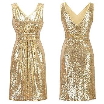 YAO Vestido de fiesta, lentejuelas atractivas mini vestidos de dama de honor de la manera
