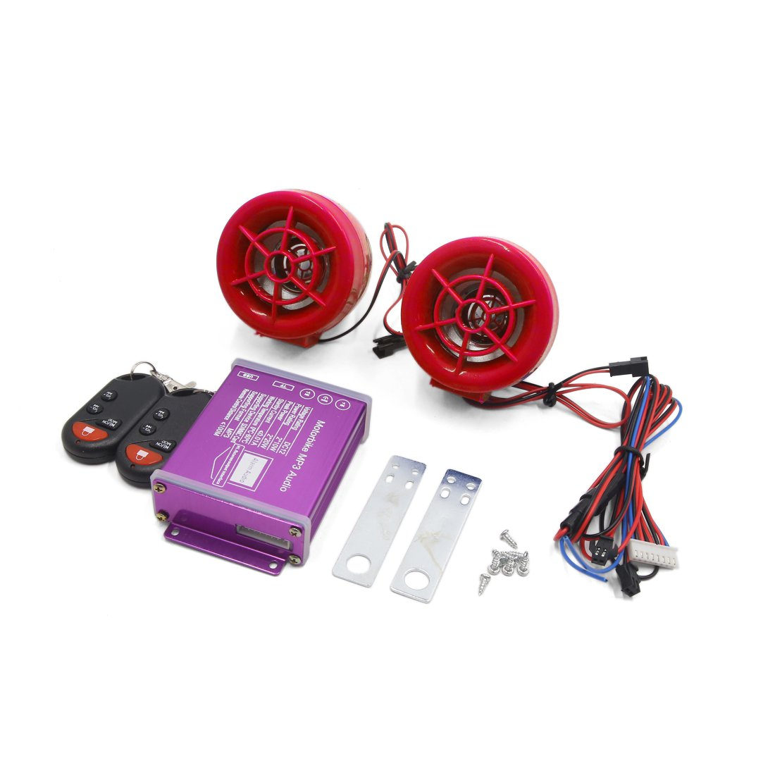 uxcell Red MP3 Player Audio Amplifier Speaker Safety Alarm Stereo DC 12V for Motorcycle