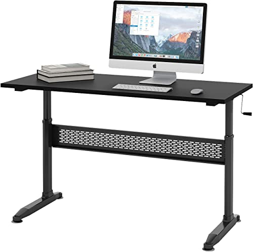 DEVAISE Height Adjustable Standing Desk with Removable Crank, 55 Sit Stand Up Desk Workstation for Home and Office, Black