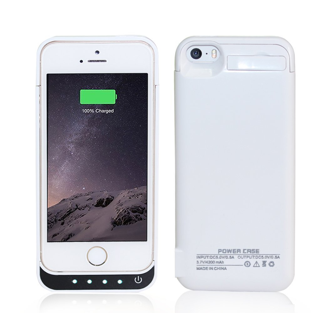 COOLEAD 4200Mah External Power Bank Charger Pack Backup Battery Case for iPhone 5 5S 5C (White) -Side Extra USB Port can Help do Other Emergency Charging for Other USB devicdes When Needed