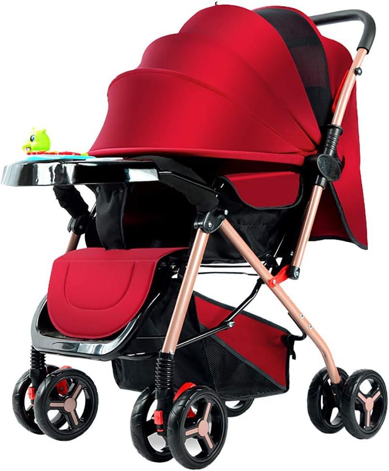 強い折り畳み式のハイビュー旅行システム、超軽量ポータブル耐震性乳母車、ベビーカーベビーカー滑り止めホイール新生児用乳母車 子供向け, red