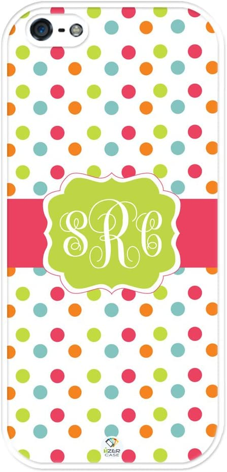 iZERCASE Monogram Personalized Colorful Small Polka Dots Pattern iPhone SE/iPhone 5S case - Fits iPhone SE, iPhone 5S T-Mobile, AT&T, Sprint, Verizon and International (White)