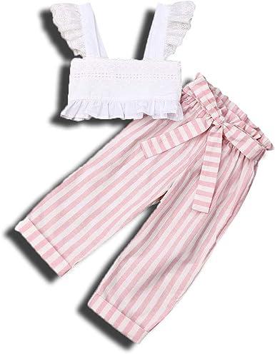 2Pcs Toddler Girl Dress Set Summer Ruffle Pleated Tube Crop Top Floral Wide Leg Pants