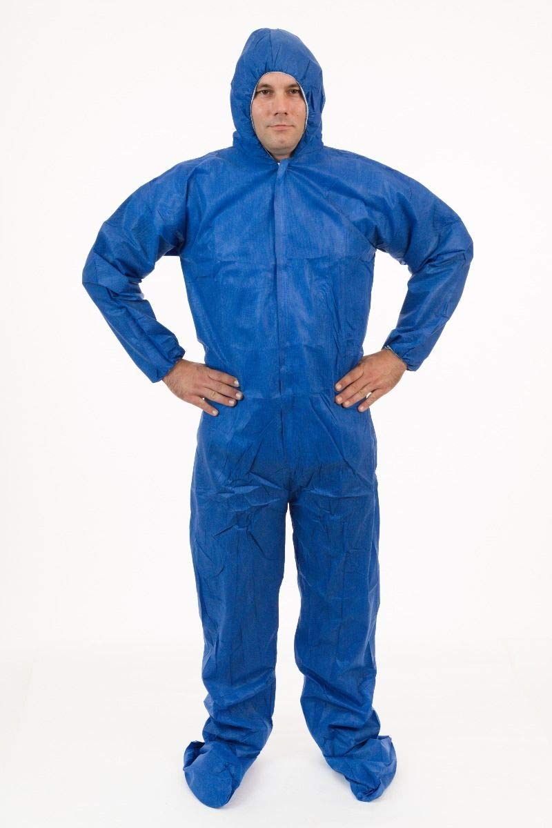 International Enviorugard – Lightweight 3 Layer SMS General Protective Coverall for General Cleanup (25 per case) (3XL, Blue) by International Enviroguard (Image #2)
