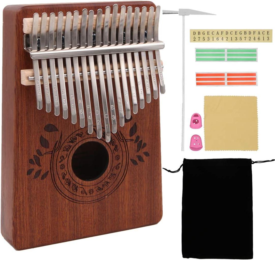 Kalimba 17 Keys Thumb Piano with Study Instruction and Tune Hammer ...