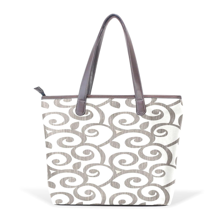 WDYSECRET Brown Cane Women's Pu Leather Handbag Shoulder Bag Zipper Shopping Bag