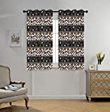 iPrint Stylish Window Curtains,Zambia,African Cheetah Pattern with Circles Spiral Exotic Fur Zoo Safari Image,Dark Brown Orange White,2 Panel Set Window Drapes,for Living Room Bedroom Kitchen Cafe